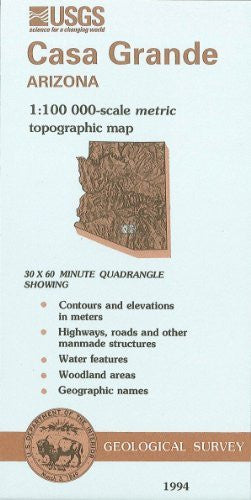 us topo - Casa Grande, Arizona : 1:100 000-scale metric topographic map : 30 x 60 minute series (topographic) (SuDoc I 19.110:32111-E 1-TM-100/994) - Wide World Maps & MORE! - Book - Wide World Maps & MORE! - Wide World Maps & MORE!