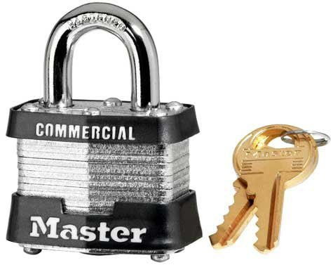 "Master Lock 3MK-SM730 Master Keyed Padlock, 1-9/16"" Wide Laminated Steel Body Padlock, 3/4"" Shackle"