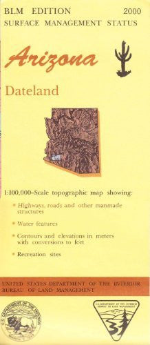 Dateland Arizona 1:100,000 Scale Topo Map BLM Surface Management 30x60 Minute Quad