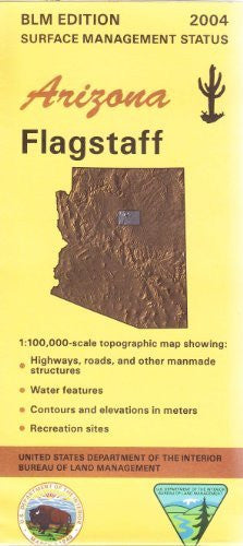 Flagstaff, Arizona 1:100,000 Scale Topographic Map Surface Managment Status 30x60 Minute quad