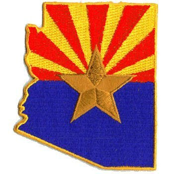 Arizona Flag (State Shaped): An Embroidered Iron-On Patch (Two-Pack)
