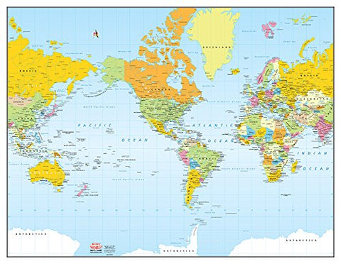 Colorful Political World Wall Map Gloss Laminated - Wide World Maps & MORE! - Map - Wide World Maps & MORE! - Wide World Maps & MORE!