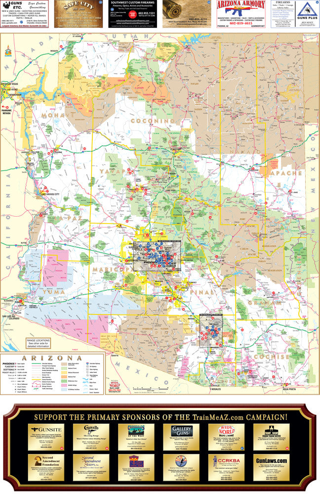 us topo - GUN MAP: Arizona Where-To-Shoot Guide Gloss Laminated - Wide World Maps & MORE! - Map - Wide World Maps & MORE! - Wide World Maps & MORE!