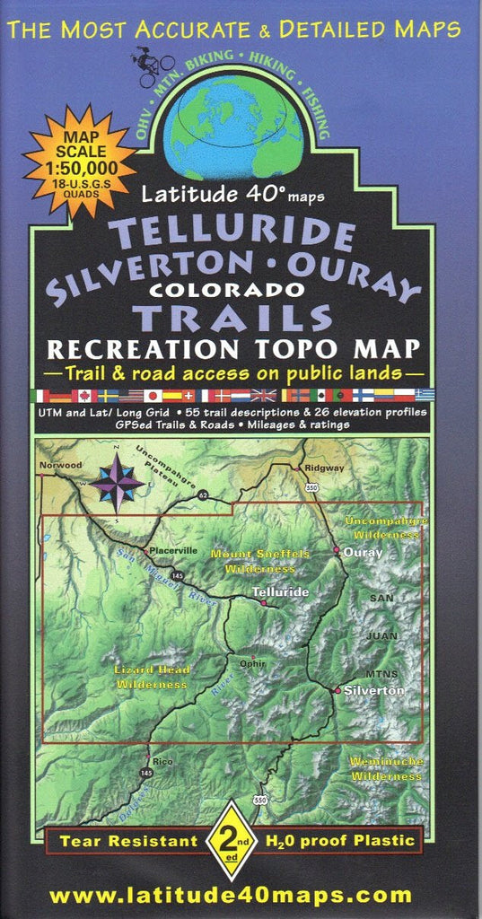 us topo - Telluride - Silverton - Ouray Colorado Trails Recreation Topo Map [Map] [Jan ... - Wide World Maps & MORE! - Map - Latitude 40° - Wide World Maps & MORE!