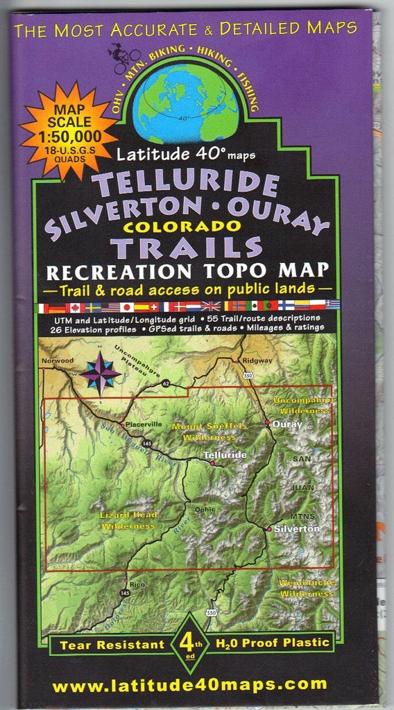 us topo - Latitude 40 Telluride/Silverton/Ouray Map - Wide World Maps & MORE! - Map - Latitude 40° - Wide World Maps & MORE!