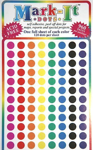 "Map Dot Stickers - Assorted Colors - 1/4"" Diameter"
