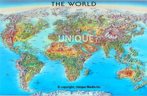us topo - The World Laminated Map - Wide World Maps & MORE! - Book - Brand: Unique Media - Wide World Maps & MORE!