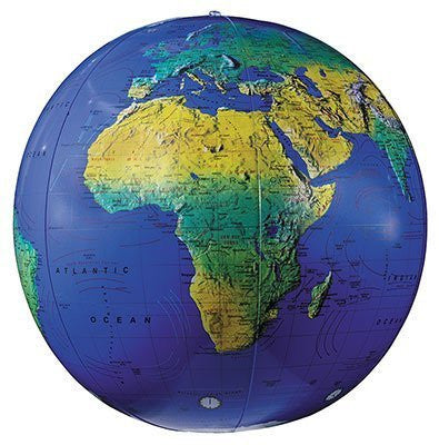 "16"" Inflate-A-Globe Topographical (Dark Blue Ocean) - Wide World Maps & MORE! - Home - Inflate-A-Globe - Wide World Maps & MORE!"