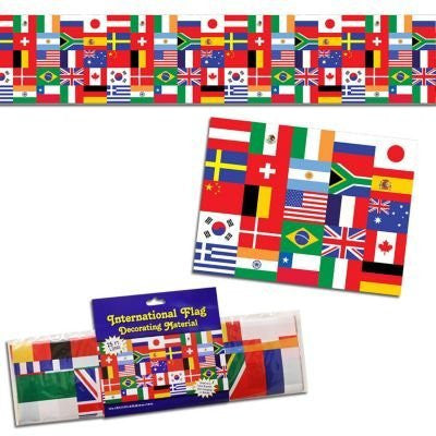 us topo - Beistle 57386 International Flag Poly Decorating Material, 18-Inch by 25-Feet - Wide World Maps & MORE! - Kitchen - Beistle - Wide World Maps & MORE!