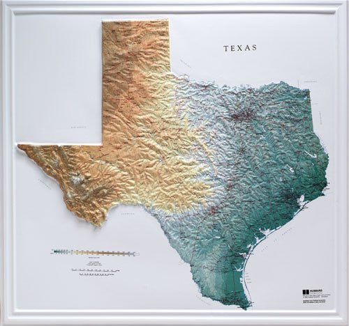 Hubbard Scientific Raised Relief Map 954 Texas State Map