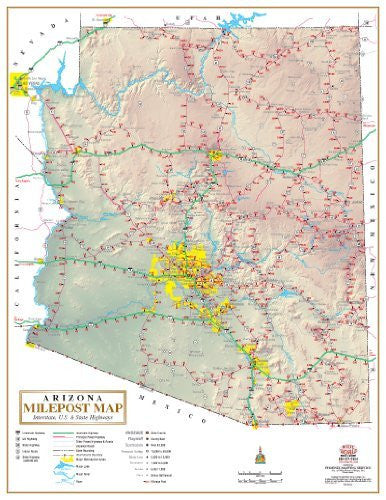 Arizona Milepost Map: Interstate, U.S., & State Highways