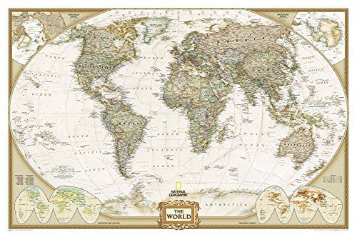 National Geographic - World Executive Map Laminated Poster by National Geographic 46 x 30in