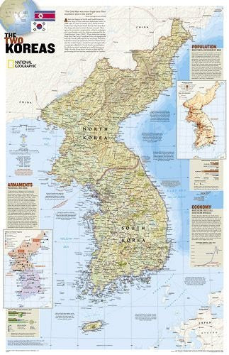 us topo - North Korea/South Korea - The Forgotten War - 2 sided by National Geographic. Size 23.00 X 36.00 Art Poster Print - Wide World Maps & MORE! - Home - OnlineWall Art and Framing - Wide World Maps & MORE!