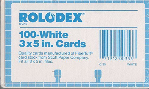Authentic and original Rolodex 100 White 3x5 inch Cards. Authentic Rolodex 3 x 5 cards. C-35.