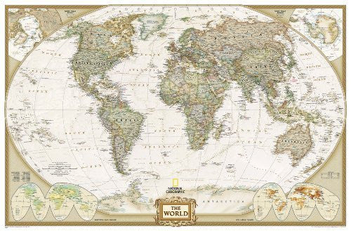 By National Geographic Maps - Ref World Executive Political Wall Map (Enlarged Size & Tubed World Map) (2012)