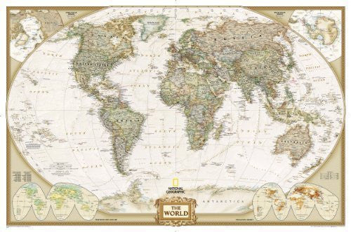 World Executive, enlarged &, tubed Wall Maps World (Reference - World) by National Geographic Maps published by National Geographic Maps Division (2012)