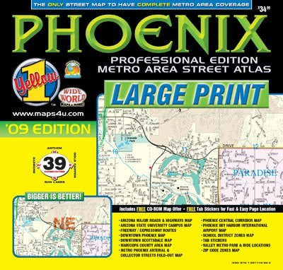 Phoenix Professional Edition Metro Area Street Atlas '09 Edition (Yellow1)