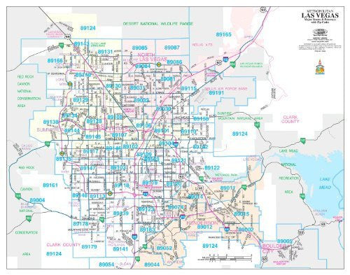 Metropolitan Las Vegas Major Streets & Freeways with ZIP Codes Desk Map