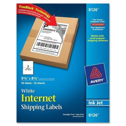 Avery Avery Inkjet Shipping Labels - 5.50 Width X 8.50 Length - 50 / Pack - Rectangle - 2/sheet - Inkje