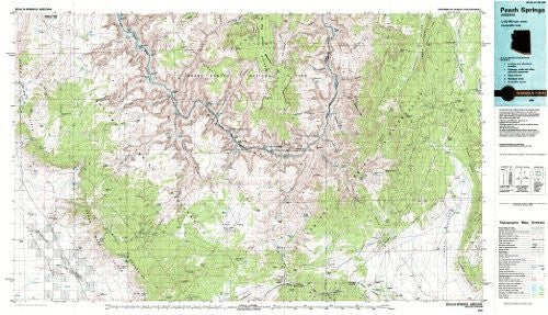 Peach Springs Arizona 1:100,000-scale USGS Topographic Map: 30 X 60 Minute Series (1986)
