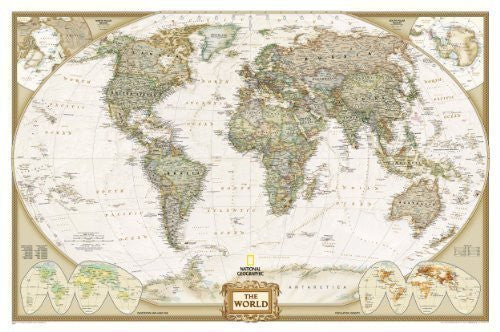 World Executive, laminated Wall Maps World: PP.NGW622085: Laminated Executive Line (World Maps) by National Geographic Maps (2012)