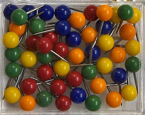 1/4 Inch Map Tacks - Assorted Colors
