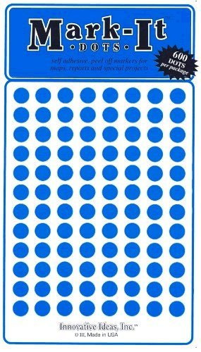 "Medium 1/4"" Removable Mark-It Brand Dots for Maps, Reports, or Projects - Blue"