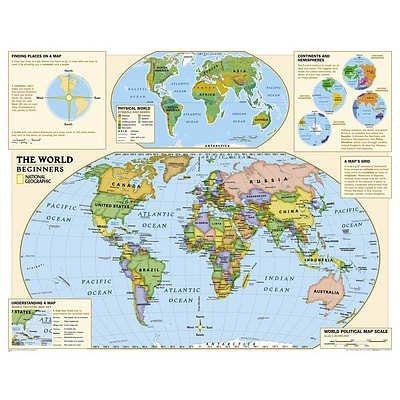 "National Geographic - Kids Beginners World Education Map (Grades K-3) Huge (51""×40"") Poster"