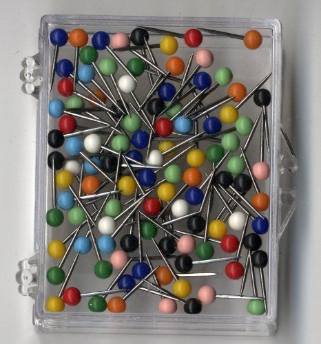 1/16 Inch Map Tacks - Assorted Colors (100 pins per box)
