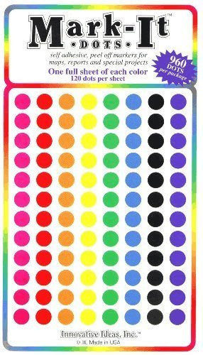 "Medium 1/4"" removable Mark-it brand dots for maps, reports or projects - eight color pack"