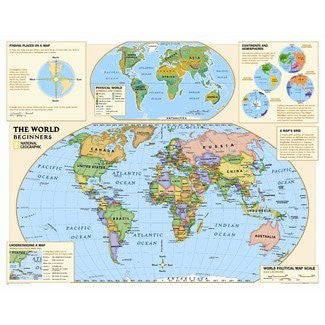 LAMINATED National Geographic - Kids Beginners World Education Map (Grades K-3) Huge Poster - 40×51