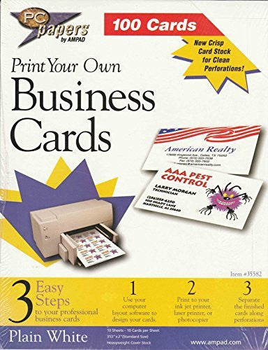 PC papers 100 cards - Print Your Own Business Cards, plain white, acid free