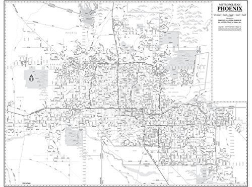 Metropolitan Phoenix Arterial and Collector Streets Dry Erase Laminated Wall Map Ready-to-Hang