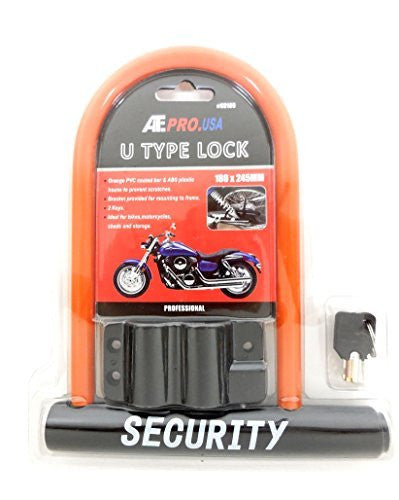 ATE U Type Lock U Shackle Carrier Bracket Security Lock for Bicycle or Motorcycle ,Orange