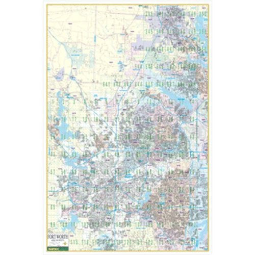 Fort Worth Wall Map w/ ZIP Codes (Mapsco Wall Maps, MAP-20210C)