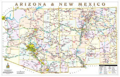 Arizona & New Mexico Political Highways Desk Map Gloss Laminated