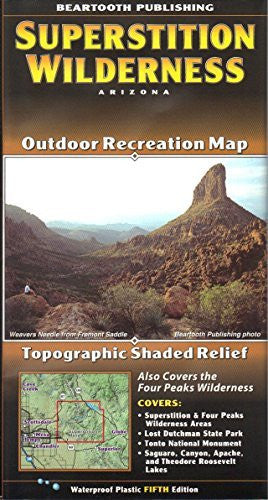 Superstition Wilderness Outdoor Recreation Map Topographic Shaded Relief