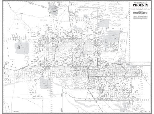 Metropolitan Phoenix Arterial and Collector Streets Wall Map Dry Erase Laminated