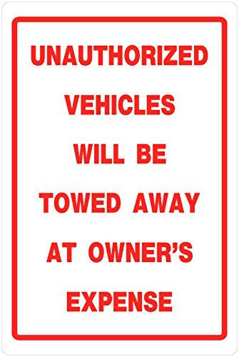 Hillman 18 x 12 Inch Heavy-Duty Plastic Unauthorized Vehicles Will Be Towed Sign (Qty 3)