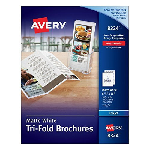 us topo - Avery Tri-Fold Brochures for Inkjet Printers, 8.5 x 11 inches, White, Matte, Box of 100 (8324) - Wide World Maps & MORE! - Office Product - Avery - Wide World Maps & MORE!