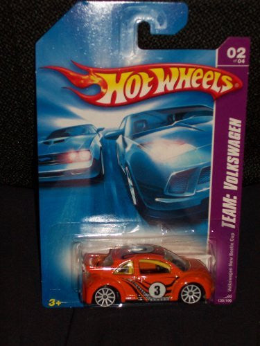 us topo - Hot Wheels 2008 130 Team: Volkswagen # 2 of 4 Volkswagen VW New Beetle Cup Orange 1:64 Scale - Wide World Maps & MORE! - Toy - Hot Wheels - Wide World Maps & MORE!