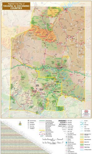 Regional Area Map of Yavapai & Coconino Counties Gloss Laminated