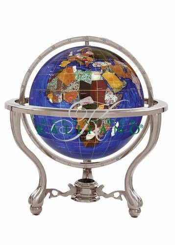 us topo - Alexander Kalifano Gemstone Globe with Silver Commander 3-Leg Table Stand - Wide World Maps & MORE! - Home - Alexander Kalifano - Wide World Maps & MORE!
