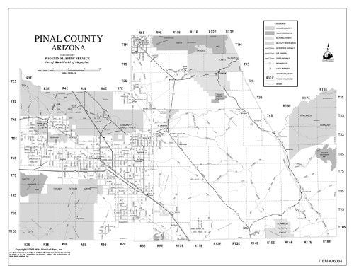 Pinal County, Arizona Notebook Map Gloss Laminated - 10 Count