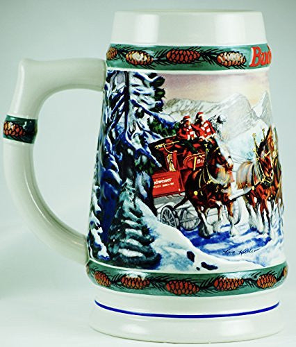1993 - Ceramarte / Anheuser-Busch Inc - Budweiser Special Delivery by Nora Koerber - Holiday Stein Collection - Handcrafted - OOP - Rare - Collectible
