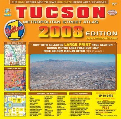 Tucson Metropolitan Street Atlas - 2008 Edition (Yellow 1 Series of Maps and Atlases)