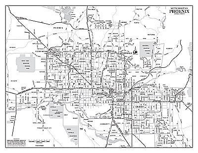 Metropolitan Phoenix Arterial Streets Gloss Laminated Notebook Map - 10 Count