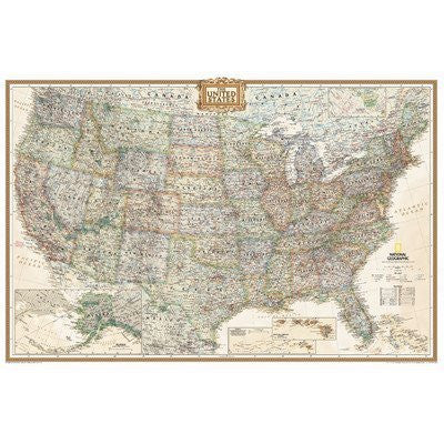 us topo - National Geographic Maps RE01020386 United States Executive Poster Size - Wide World Maps & MORE! - Home - National Geographic Maps - Wide World Maps & MORE!
