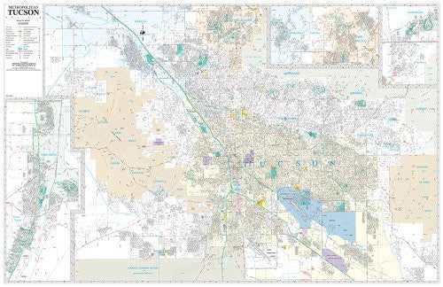 Tucson Metropolitan Full Detail ZIP Code Wall Map Dry Erase Laminated