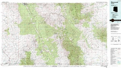 Mammoth Arizona 1:100,000-scale Topographic USGS Map: 30 X 60 Minute Series (1986)